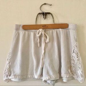White Lace Drawstring Shorts Size M